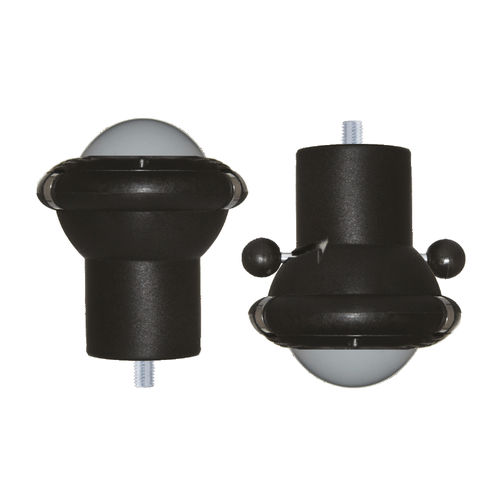 fixed caster / threaded stud / with brake / spherical