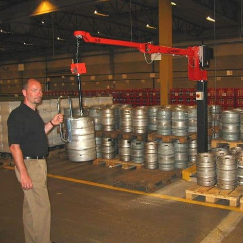 electric manipulator / with hook / for beer barrels / for lifting