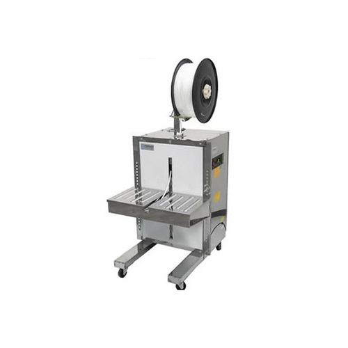semi-automatic strapping machine / for food products / stainless steel / lateral