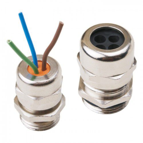 nickel-plated brass cable gland / IP65 / halogen-free / threaded