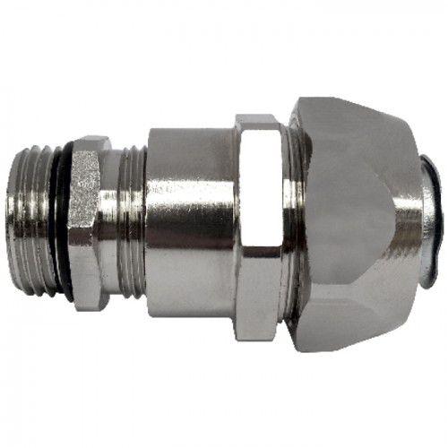 threaded fitting / straight / hydraulic / nickel-plated brass
