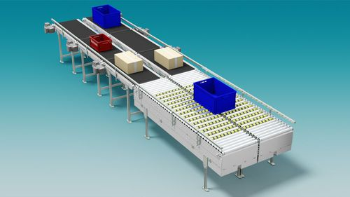 roller conveyor / for the food industry / for the pharmaceutical industry / for boxes