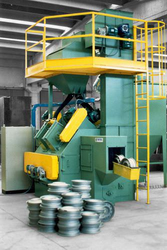 roller shot blasting machine / for wheel rims / vertical