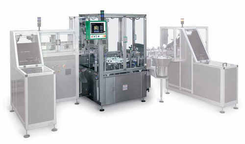 automatic filler and capper / cosmetic cream / for liquids / rotary