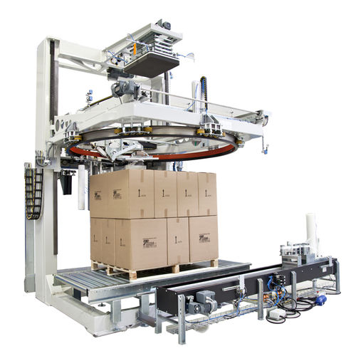 rotary ring stretch wrapping machine / automatic / pallet / stretch film
