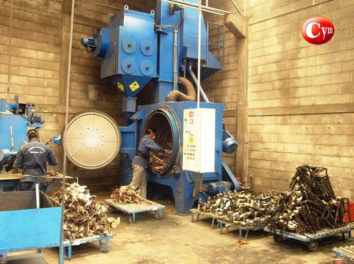 rotary drum shot blasting machine / for metal / continuous / automatic