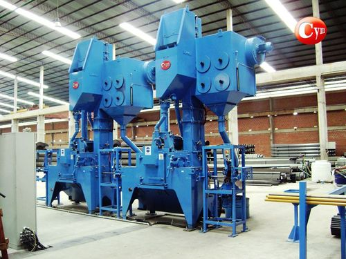roller shot blasting machine / for tubes / sheet metal