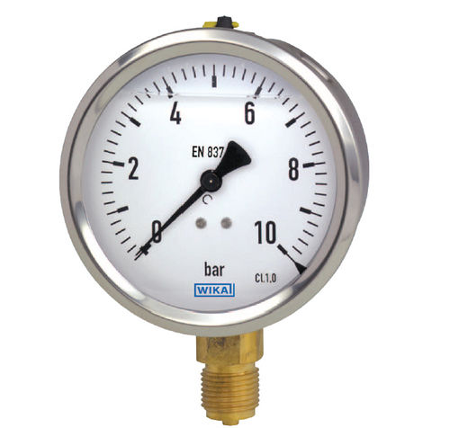 analog pressure gauge / liquid-filled Bourdon tube / process / for gas