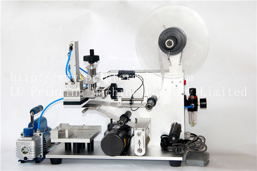 semi-automatic labeler / side / horizontal / for the pharmaceutical industry