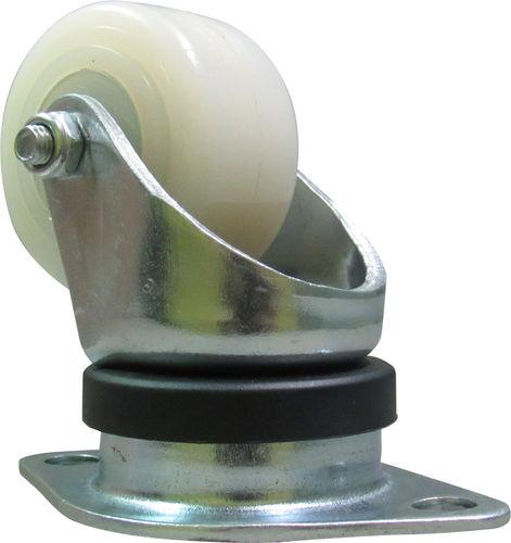 swivel caster / base plate / steel / plastic