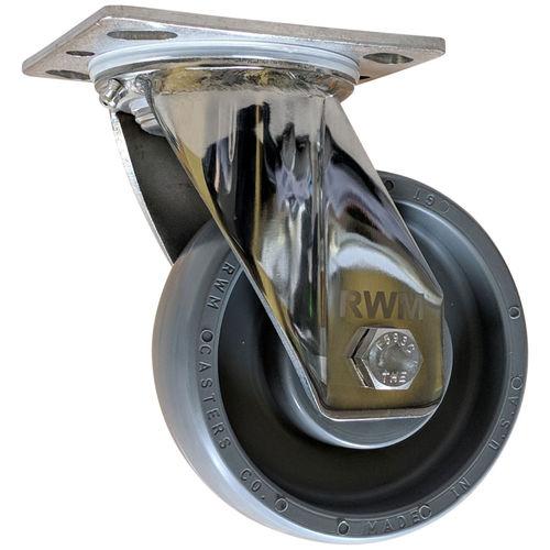 swivel caster / base plate / for medium loads / stainless steel