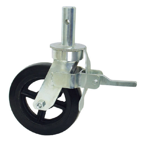 fixed caster / rod / with brake / for mobile scaffolding