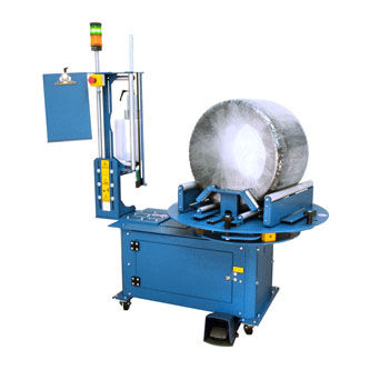 turntable stretch wrapper / semi-automatic / for coils / for rolls