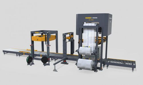stretch film hood machine / automated / in-line / for production lines