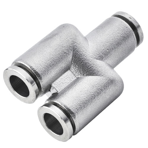 push-in fitting / Y / pneumatic / stainless steel