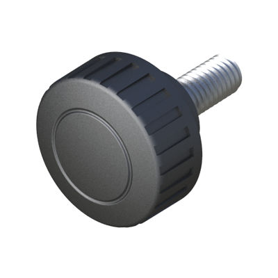 knurled knob / round / polyamide / steel