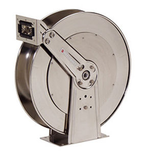 hose reel / self-retracting / with mounting bracket / dual-pedestal