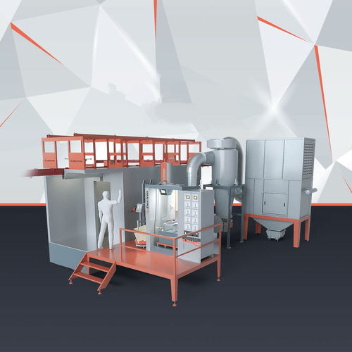 powder coating booth with self-cleaning filter / fast color changing