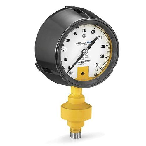 analog pressure gauge / Bourdon tube / with acid leak detection