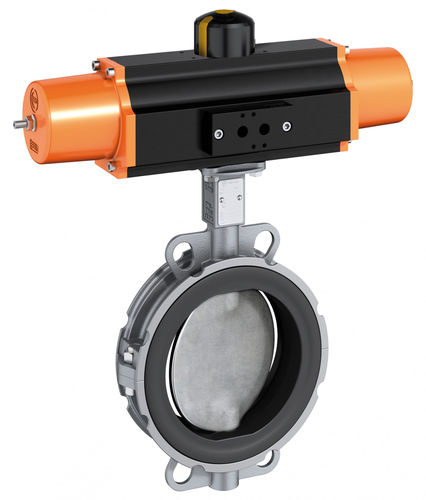 butterfly valve / pneumatically-operated / wafer / PFA-lined