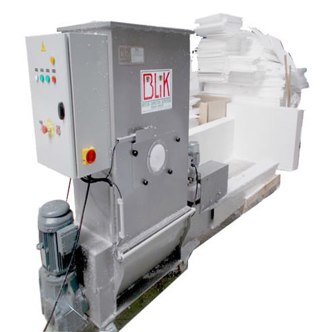 stationary waste compactor / plastic / for polystyrene / top-loading