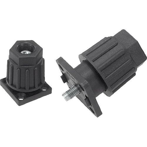 plastic foot / steel / adjustable / screw-in