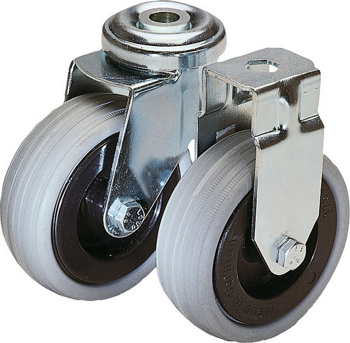 swivel caster / rod / non-marking / central hole fixing