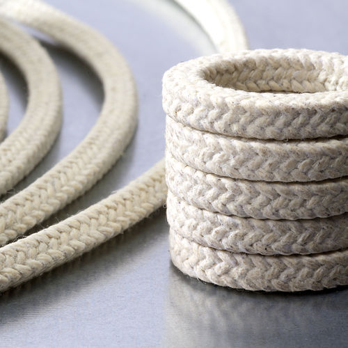 braided PTFE packing / aramid yarn / chemical-resistant / for pumps