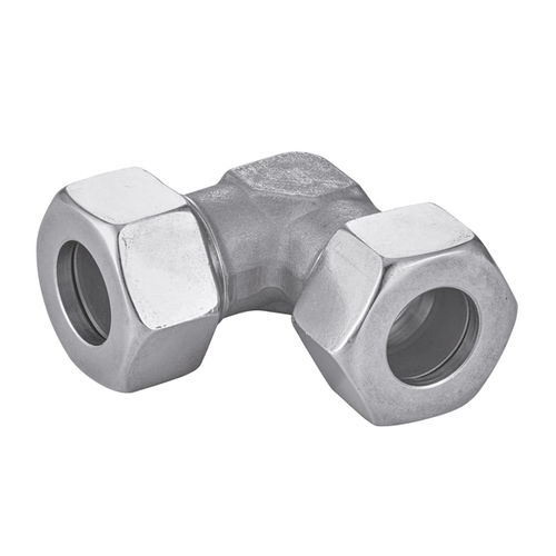 ring fitting / 90° angle / hydraulic / stainless steel