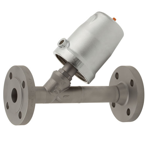 pneumatically-operated valve / angle seat / stainless steel / for aggressive media