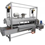 continuous industrial fryer / vegetable / conveyor / for pre-cooked dishes