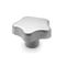 star knob / threaded / stainless steel / with stud
