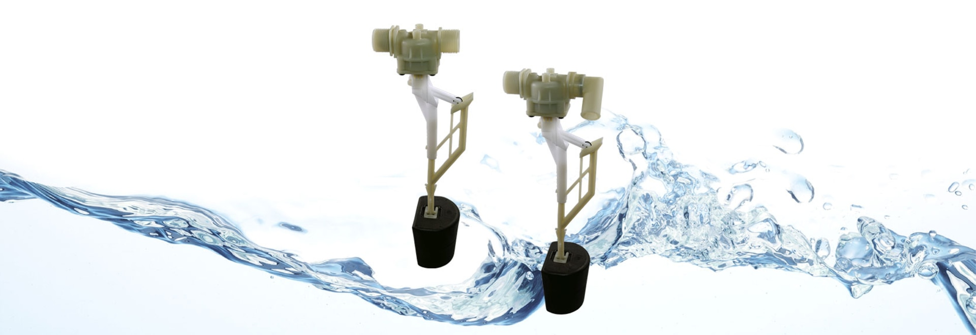 Float valves with vertical guide float