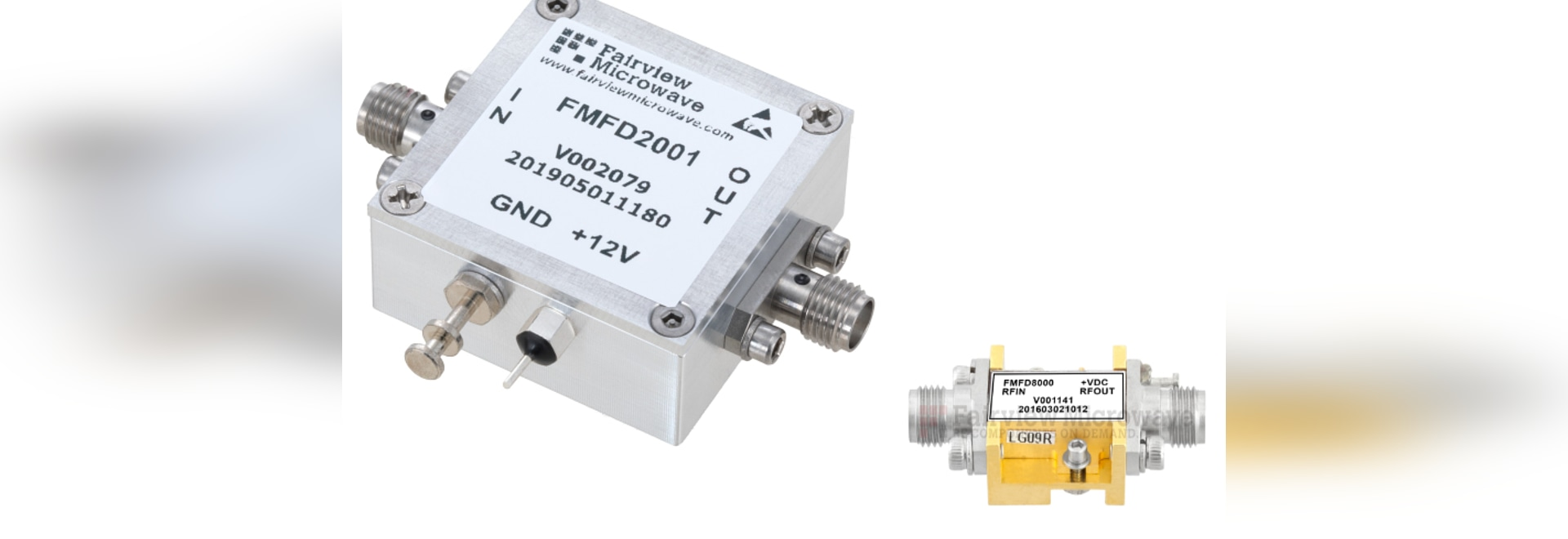 Frequency dividers in compact, rugged SMA connectorized packages work to 20 GHz