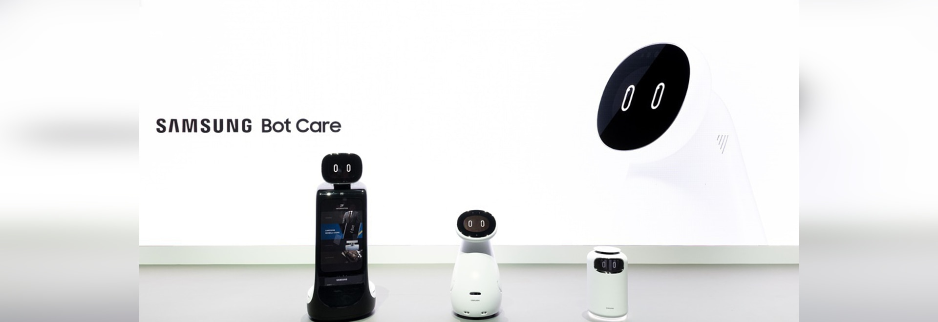(From Left) Samsung Bot Retail, Samsung Bot Care, Samsung Bot Air. The three Samsung Bots were debuted at CES 2019.
