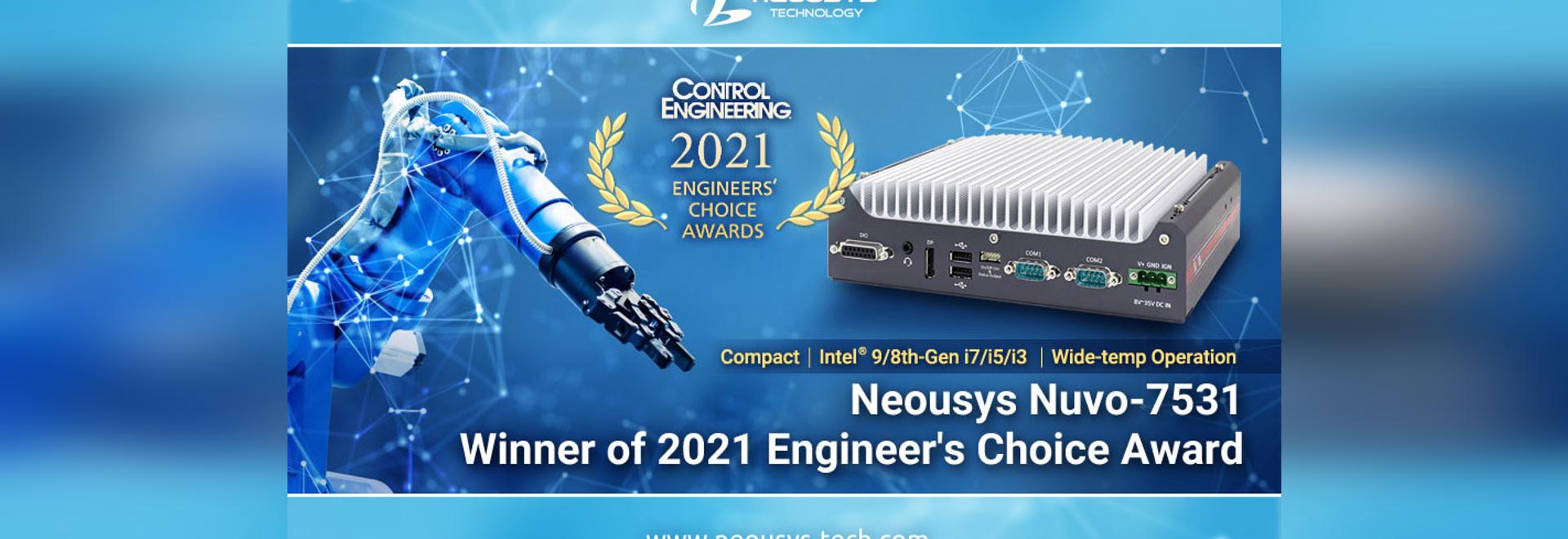 Neousys Nuvo-7531 Wins Control Engineering Engineers' Choice Award
