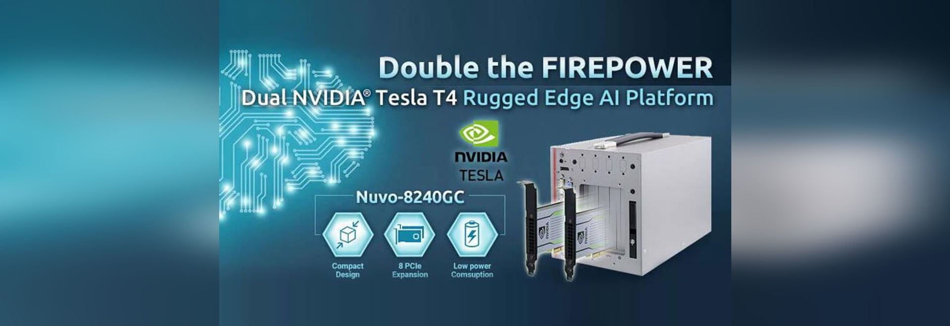 Neousys Nuvo-8240GC Dual Tesla T4 Rugged GPU computing Edge AI Platform Leads the Industry with Double Firepower