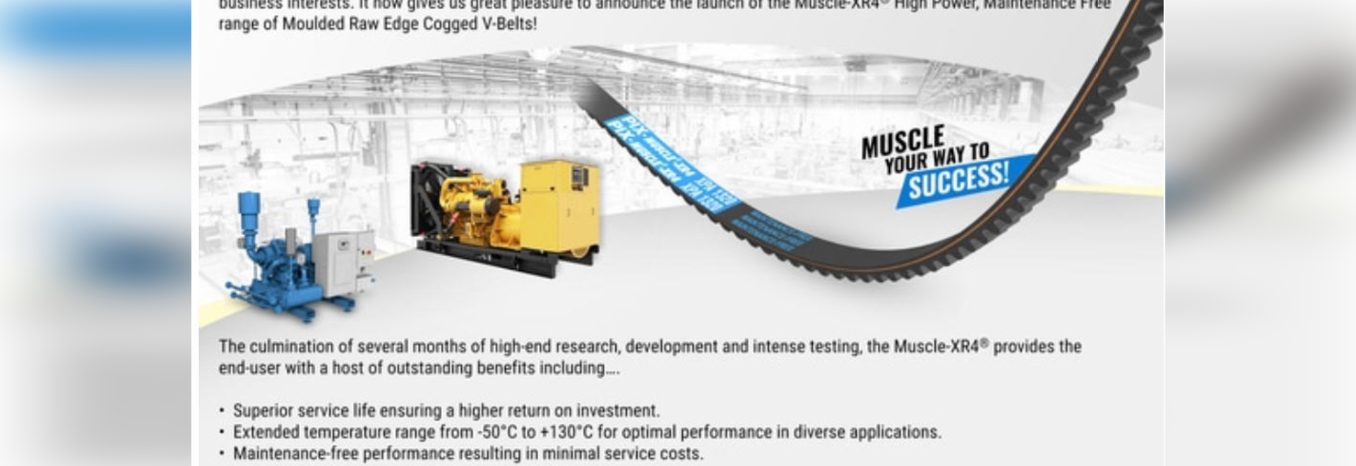 PIX - MUSCLE®-XR4 High-power, Maintenance-free, Moulded Raw Edge Cogged Belts