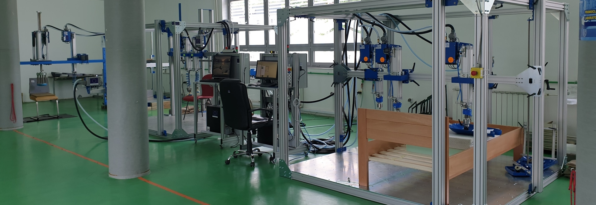 Testing laboratory ZEDA with furniture test rigs from Hegewald and Peschke