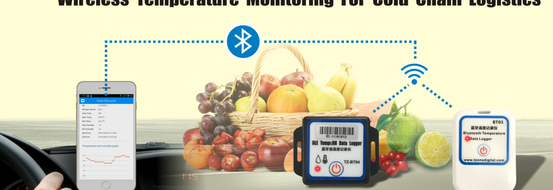 TZONE Bluetooth temperature and humidity data loggers