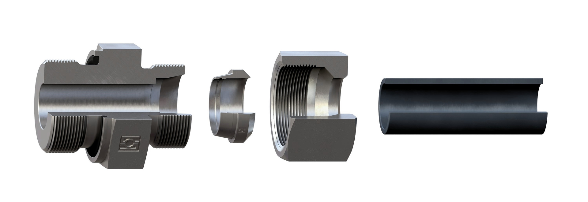 When the union nut is tightened, the two cutting edges of the cutting ring, arranged behind each other, cut into the tube creating a joint with the necessary positive locking/form locking connectio...