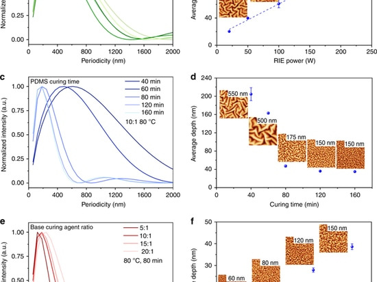 The control of RIE-induced nanostructures. The influence of the RIE power (a, b), the PDMS pretreatment time (c, d) and the weight ratio of the base and curing agent (e, f) on the periodicity distr...