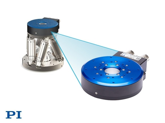 PI 28mm Low-Profile Rotary Positioner with High Force Torque Motor is Mountable on 6-Axis Hexapod