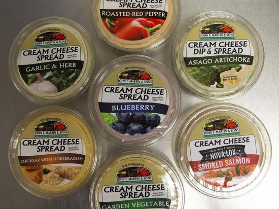 J&L produces 42 types of cream cheese spreads as a co-packer for companies such as John F. Martin & Sons (pictured).