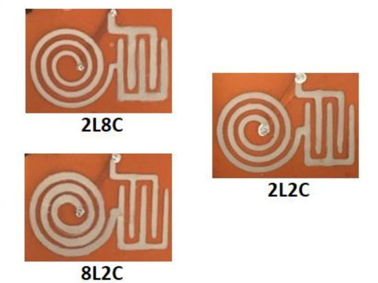 2. These three 3D-printed inductor-capacitor (LC) circuit samples have different thicknesses with different printing paths; for example, 2L8C contains a double-layered inductor and 8-layered capaci...