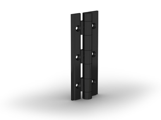 Spring-loaded hinges in aluminium profile - black anodised
