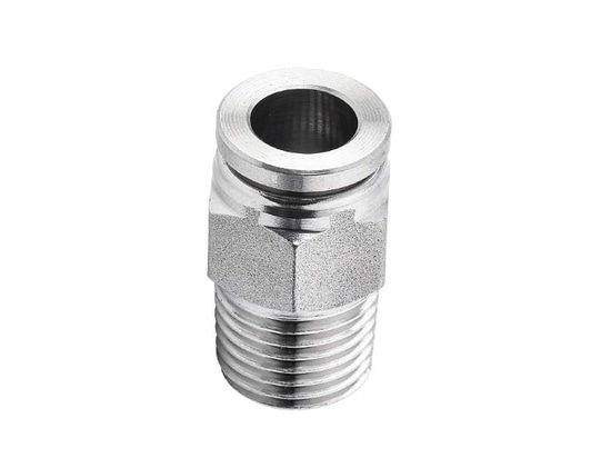 """SPC 1/4-04, 1/4"""" O.D Tubing, R, PT, BSPT 1/2 Male Connector, Stainless Steel Push to Connect Fitting"""