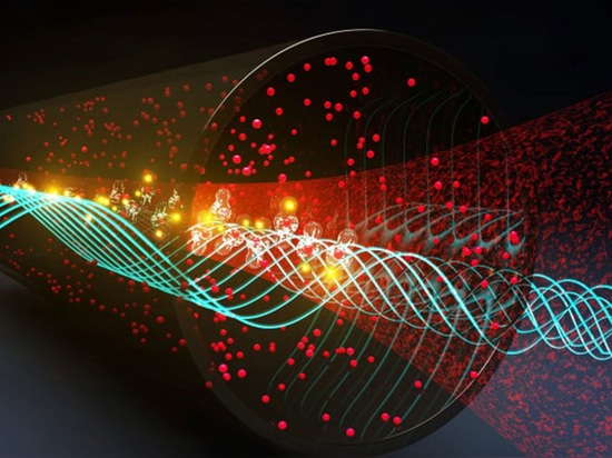 In this artist's interpretation, Rydberg atoms are optically excited to Rydberg states that detect incoming RF fields.