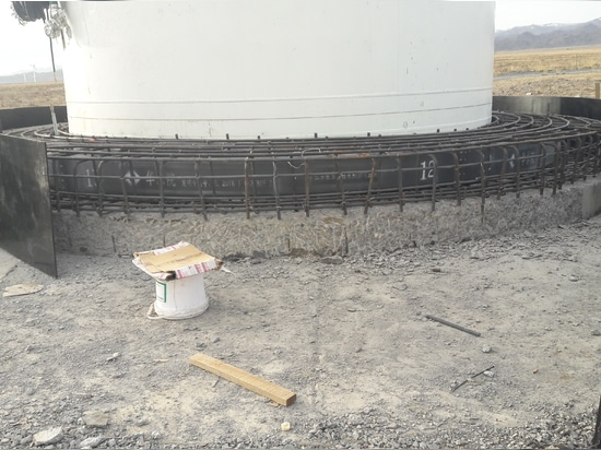 The foundation of a wind turbine is being reinforced, Our BWS5700 successfully monitored dangerous data