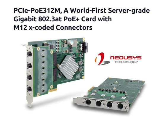 Neousys PCIe-PoE312M PoE+ card with M12